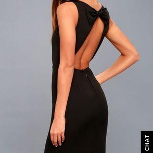 Lulu's Open Back Bow Midi Dress